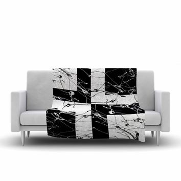 "Nina May ""Ska Splatter"" Black White Mixed Media Fleece Throw Blanket"