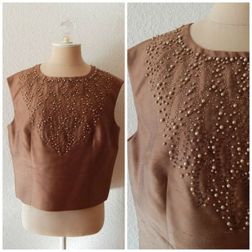 50s Beaded Chocolate Brown Rhinestone Beaded Neckline Cocktail Tank Top sz M L