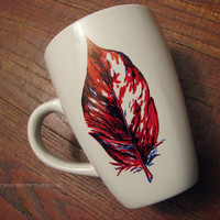 Hand drawn, heat set - red, white, and blue feather mug