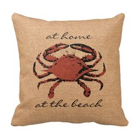 Red Crab Illustration Nautical Burlap Beach - Home Throw Pillow