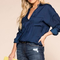 Off Beat Navy Satin Top