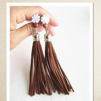 Tassel ear plugs-Leather Fringe Ear Plugs-Sleep Mask.
