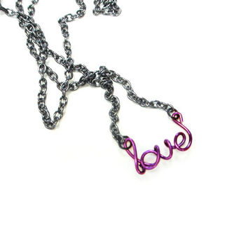 Purple Love Necklace Dainty Word Jewelry Gifts Under 20