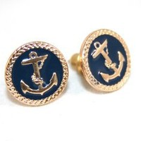 Anchor Stud Earrings - Navy