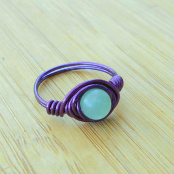 Ring, Green Aventurine ring, Aventurine ring, wire jewelry, boho ring,wire wrapped ring,bohemian ring,custom ring, healing jewelry, crystals
