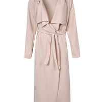 Long Sleeve Side Pockets Belted Maxi Trench Coat
