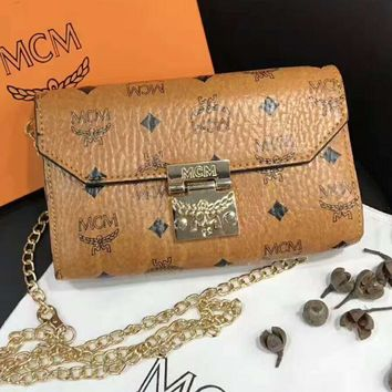 MCM Women Shopping Leather Metal Chain Crossbody Satchel Shoulder Bag H-A-XYCL