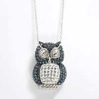 Sterling 'N' Ice Sterling Silver Crystal Owl Pendant - Made with Swarovski Elements (Grey)