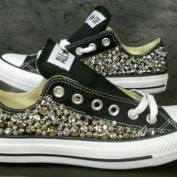 DCCKHD9 Custom Studded Converse Shoes Swarvoski & Spikes (ONE SIDED SHOES)