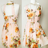 NEW Forever 21 Pink/Azure Watercolor Floral Open Cutout Back CUTE Chiffon Dress