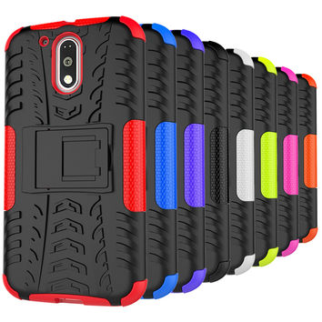 For Motorola MOTO G4 G 4th Gen G4 Plus 2016 PC + Silicone Dual Layer Stand Rugged 3D Case For MOTO G 4 Hard Impact Cover Shell