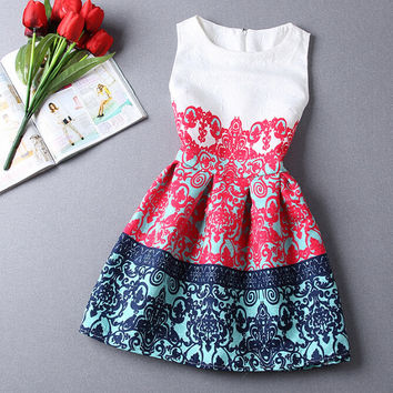PRINTED EMBOSSING DRESS SUNDRESS