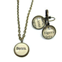 Lions Tigers and Bears Vintage Library Card Necklace and Earrings Aged Brass Leverbacks