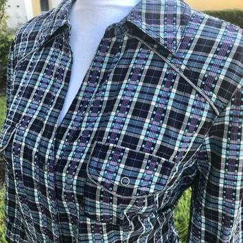 ARIZONA JEAN COMPANY Women's PLUS SIZE Snap On Plaid Shirt, Size XL