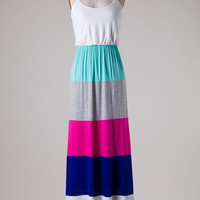 Color Block Maxi Dress - Mint and Fuchsia