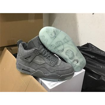 Kaws X Air Jordan 4 Retro Cool Grey Basketball Shoes 930155 003 Retro 4 Vi Glow In The Dark Grey Suede Shoes For Men Sports Sneakers | Best Deal Online