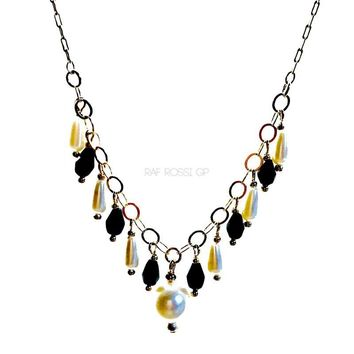 Black and White Faux Pearls 18Kts of Gold Plated Necklace