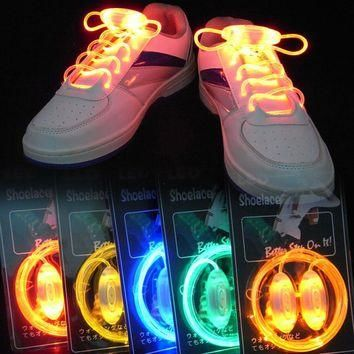 Colorful LED Flash Light Up Shoe Laces Party Disco Shoes Strap Glow Stick Shoelaces Bo