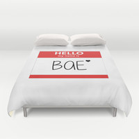 Hello My Name is Bae Duvet Cover by Poppo Inc. | Society6