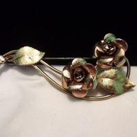 "Krementz Double Rose Flower Leaf 14K Yellow Rose Gold Vintage Large 3"" Brooch Pin"