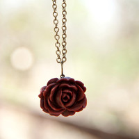 Red-Brown Vintage Style Rose Neckla.. on Luulla