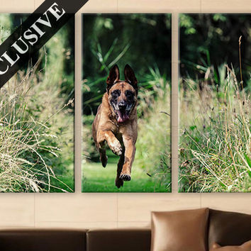 Large Wall Art Canvas Print 3 Panel Art Hanging German Shepherd Wall Art Photo on Canvas Wall Decor for Home & Office Large Wall Decoration
