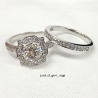 Round Moissanite Diamond Engagement Ring Sets  Pave Diamond Wedding 14K White Gold 7mm Art Deco Vintage