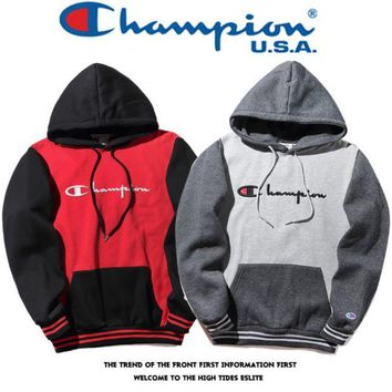 PEAPDQ7 Teh New Color Blocking Champion Embroidery Hoodies Sweater Pullover