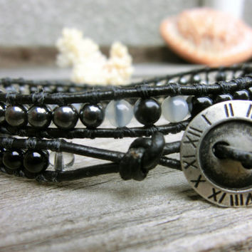 Black Onyx Hematite Moonstone Snowflake Obsidian Crystal Leather Wrap Bracelet