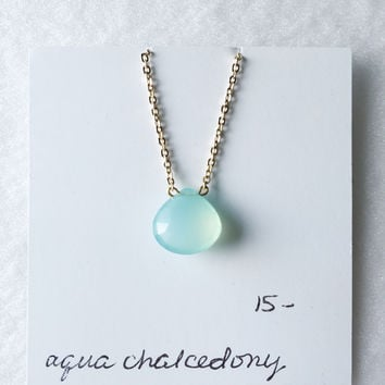Aqua chalcedony faceted drop necklace - trunk show
