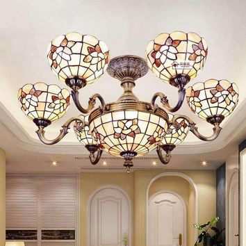 32 Inch Shell Decoration Ceiling Lamps Mediterranean Style Hanging Chandelier  Living Room Six Heads Tiffany Chandelier