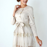 Double Breasted Lace Skirt Dress in Ivory - New Arrivals - Retro, Indie and Unique Fashion