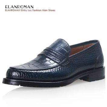 ELANROMAN men shoes luxury brand Full Leather Fashion Business Dress Moccasins Flats Slip on Casual Business Blue Loafers