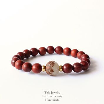 2016 New TALE Design Natural Red Sanders Wood Beads White Bodhi seed Carved Lotus Flower Beads Bracelet For Women Unique Jewelry