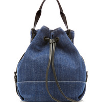 Izzy Drawstring Denim Tote