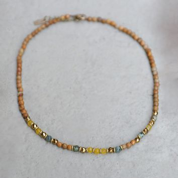 Jasper and Yellow Jade Delicate Necklace