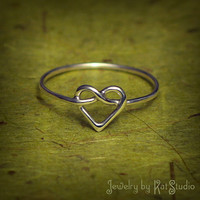 Heart Knot Ring  love knot ring  Infinity Heart ring  by Katstudio