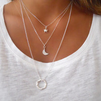 Moon And Star Silver Necklace Set. Sterling Silver Layering Necklace.