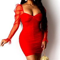 2020 New Women's Mesh Gauze Dot Solid Color Puff Sleeve Wrap Chest Pack Hip Dress