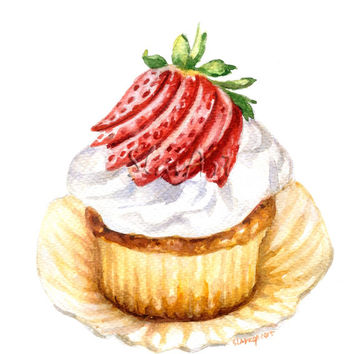 Sweet Cupcake with Strawberry Food Art Still Life Print Watercolor Painting Fine Art Home Decor Realistic Kitchen art Illustration