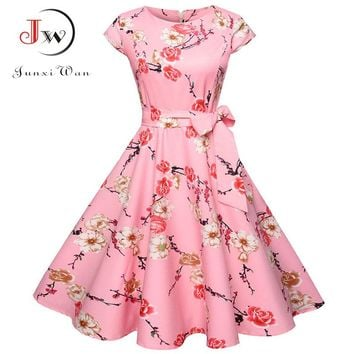 Women Summer Floral Dress 2018 50s Vintage Casual Elegant Print O Neck Party Work Office Dress Retro Rockabilly Vestidos