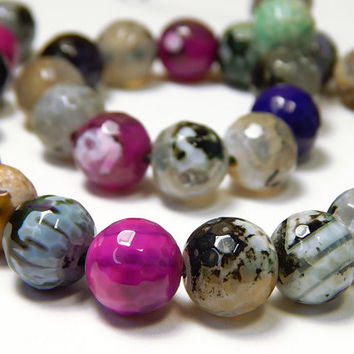 14-1/2 Inch Strand - 12mm Faceted Multicolor Fire Agate Beads - Gemstone Beads - Jewelry Supplies
