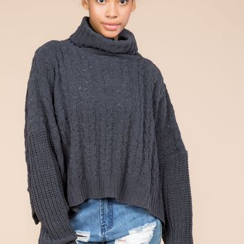 Cable Knit Turtleneck sweater - Charcoal by POL Clothing