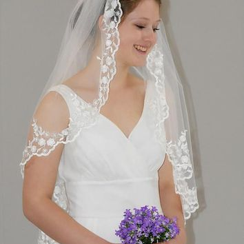 "34"" Gather Top Mantilla Veil"