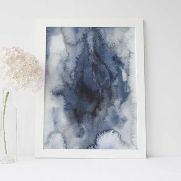 Modern Abstract Dark Blue Indigo Art Print