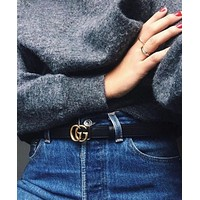 GUCCI Fashion Casual  Belt women man leather belt double g smooth buckle belt +Girl Box G