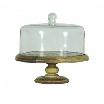 Wooden cake stand with glass cover and glass knob