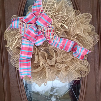 "Deco Mesh Wreath, Burlap Ruffle Wreath, Year Round Wreath, Pink & Turquoise Plaid Bow, Raffia, 21"" Indoor/Outdoor Wreath"