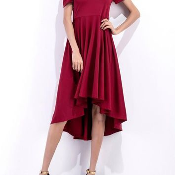 Wine Red Plain Pleated Irregular High-low Boat Neck Casual Midi Dress
