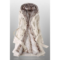 Winter Coats For Women With Faux Fur Lining In Beige = 1932438852